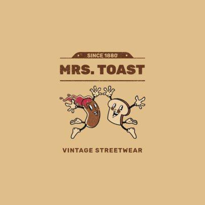 Streetwear Logo Creator Featuring 60's-Inspired Food Cartoons 2239c-el1