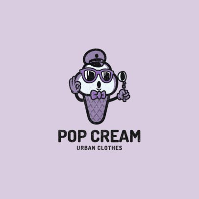 Logo Template for a Streetwear Brand Featuring an Ice Cream Clipart 2239h-el1