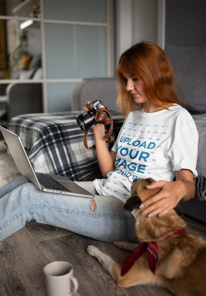 Mockup of a Woman with a Unisex T-Shirt Petting Her Dog 39065-r-el2
