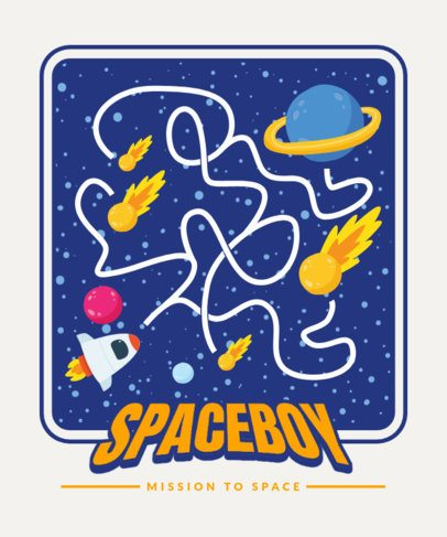 T-Shirt Design Template for Children Featuring a Cool Space Maze 2197-el1