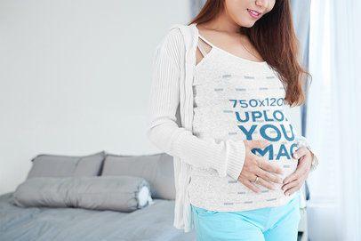 Tank Top Mockup of a Pregnant Woman at Home 35800-r-el2