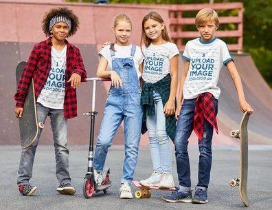 T-Shirt Mockup Featuring Four Kids at a Skatepark 39336-r-el2
