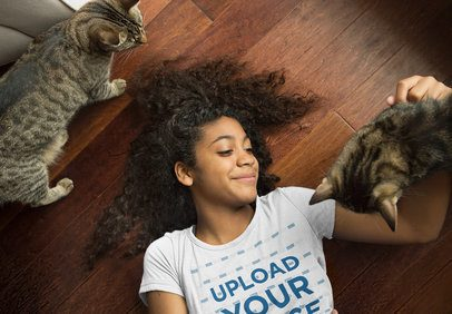 T-Shirt Mockup of a Woman Playing with Her Cats 39423-r-el2