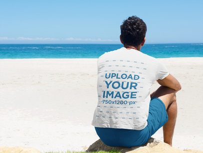 Back-View T-Shirt Mockup of a Man at the Beach 35380-r-el2
