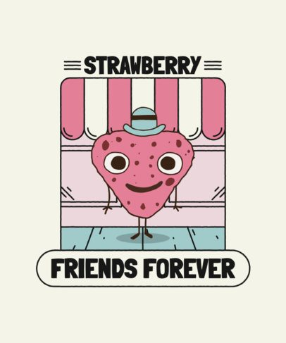 T-Shirt Design Template Featuring a Friendly Strawberry Graphic 2218e-el1