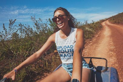 Tank Top Mockup of a Woman Driving an Off Road Motorcycle 38162-r-el2