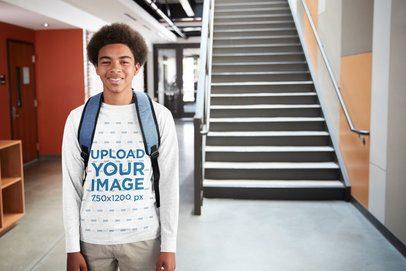 Crewneck Sweatshirt Mockup of a Teenager at School 39092-r-el2