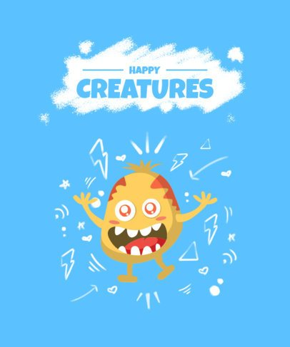 Funny T-Shirt Design Creator Featuring a Smiling Imaginary Creature 2216d-el1