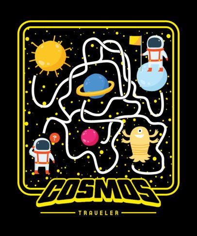 T-Shirt Design Generator Featuring a Cosmic Maze with Monsters 2197d-el1
