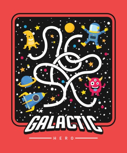 Kids T-Shirt Design Template Featuring a Galactic Maze 2197b-el1