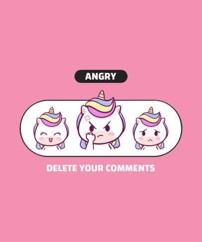 T-Shirt Design Template for Kids with an Angry Unicorn Face 2220a-el1