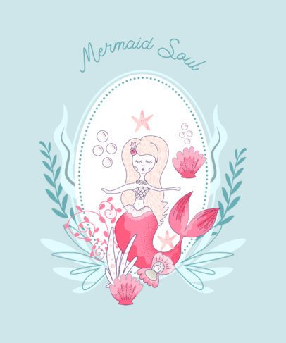 Illustrated T-Shirt Design Creator with a Mermaid Character 2206a-el1