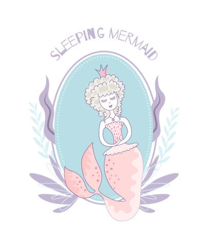 T-Shirt Design Template for Children Featuring a Mermaid Princess 2206b-el1