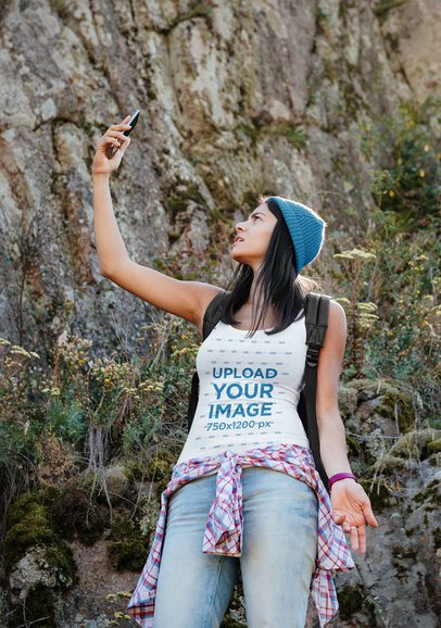 Tank Top Mockup of a Young Woman on a Hike 38307-r-el2