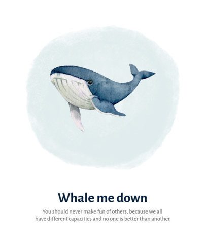 T-Shirt Design Template Featuring a Watercolor Illustration of a Blue Whale 2200a-el1