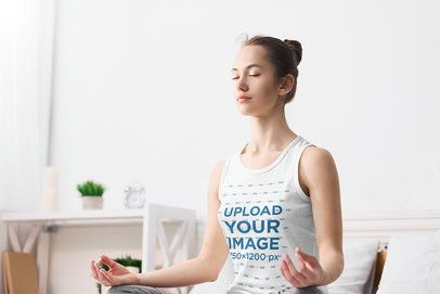 Tank Top Mockup of a Woman Meditating in Her House 38333-r-el2