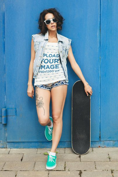 Tank Top Mockup of a Tattooed Woman Posing with a Skateboard 35274-r-el2
