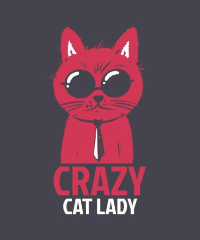 Illustrated T-Shirt Design Template for Cat Ladies 2736k