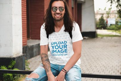 T-Shirt Mockup Featuring a Cool Long-Haired Man 38257-r-el2