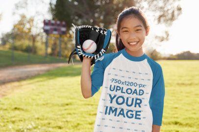 Raglan Tee Mockup of a Girl Playing Posing with Her Baseball Glove 39390-r-el2