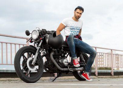 T-Shirt Mockup of a Man Posing on a Motorcycle 34495-r-el2