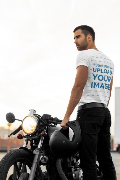 Back View Mockup of a Biker Man Standing Next to a Motorcycle 34499-r-el2