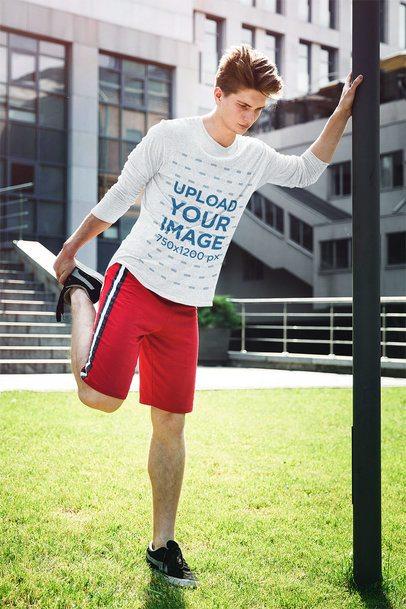 Long Sleeve Tee Mockup of a Teenage Athlete Preparing to Run 39360-r-el2
