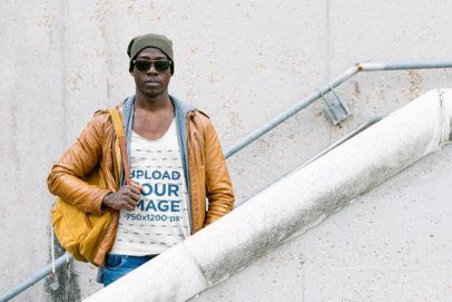 Tank Top Mockup of a Cool Man Standing on the Stairs 38023-r-el2