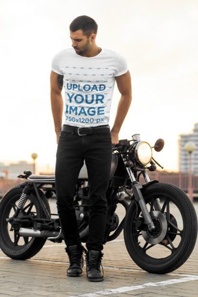 T-Shirt Mockup of a Stylish Man Posing in front of His Motorcycle 34501-r-el2