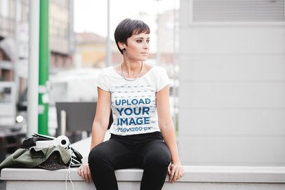 Mockup of a Woman with Short Hair Wearing a T-Shirt on the Street 37805-r-el2