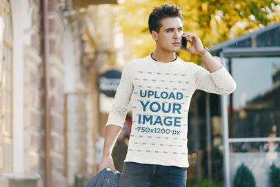 Long Sleeve Tee Mockup of a Man Talking on the Phone 37615-r-el2