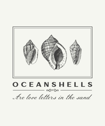T-Shirt Design Template Featuring Engraved Seashells 2391-el1
