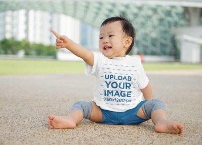 T-Shirt Mockup of a Baby Boy Pointing Away 39472-r-el2
