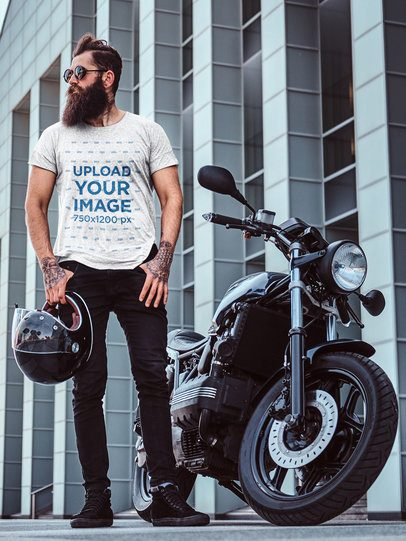 T-Shirt Mockup of a Man with a Thick Beard Posing Next to a Motorbike 37696-r-el2