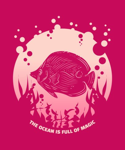 T-Shirt Design Maker with the Illustration of a Fish in the Ocean 2393d-el1