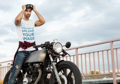 T-Shirt Mockup of a Man Putting on His Motorcycle Sunglasses 34503-r-el2