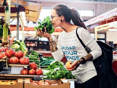 Long Sleeve Tee Mockup of a Woman Getting Veggies at the Grocery Store 37687-r-el2