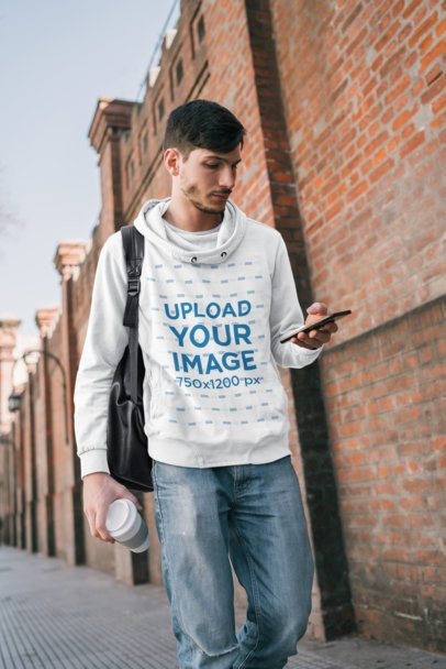 Pullover Hoodie Mockup Featuring a Young Man Walking to College 39569-r-el2