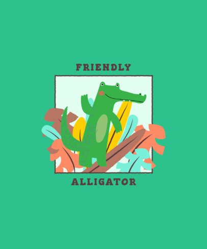 T-Shirt Design Generator for Children of an Alligator Waving Hello 2332b-el1