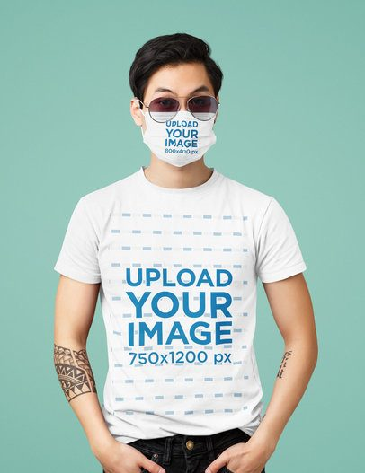 T-Shirt Mockup of a Man Wearing a Face Mask in a Studio 39527-r-el2