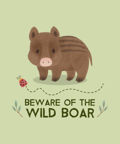 Illustrated T-Shirt Design Generator of a Sweet Boar 2328e-el1