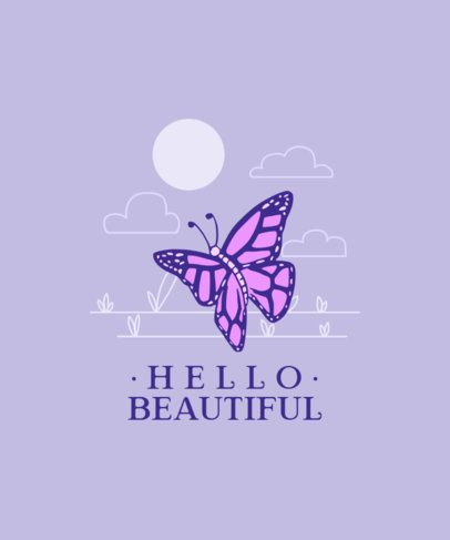 T-Shirt Design Template of a Colorful Butterfly 2334e-el1