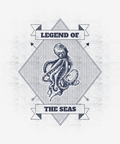 T-Shirt Design Template with Detailed Illustrations of Life in the Ocean 2394-el1
