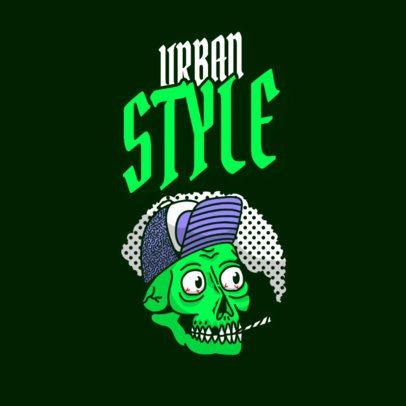 Streetwear Logo Template Featuring a Smoking Skull Illustration 3492d