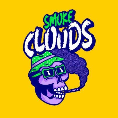 Streetwear Logo Creator Featuring a Skull Smoking a Joint 3492f