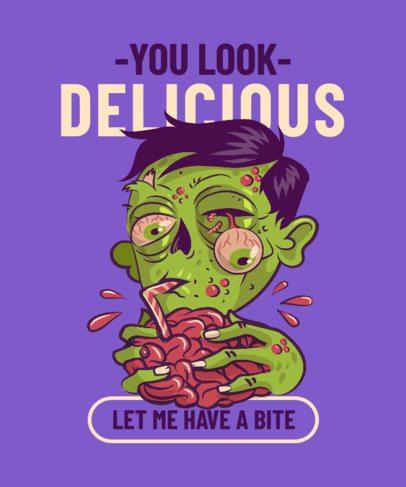 T-Shirt Design Generator Featuring a Gross Zombie Eating a Brain 2767b