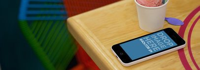 iPhone 5c White Portrait On Wooden Table With Ice Cream