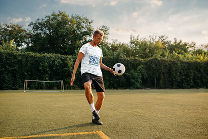 Mockup of a Man with a Sublimated Tee Playing Soccer 35026-r-el2