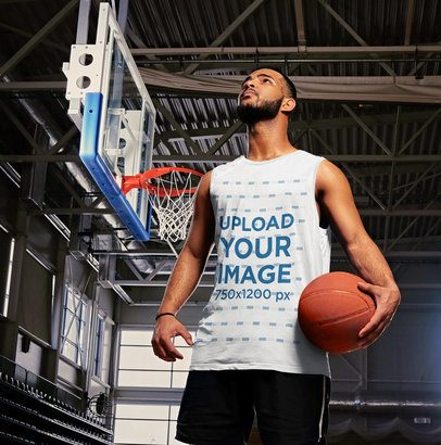 Mockup of a Man Wearing a Customizable Tank Top at a Basketball Court 38809-r-el2