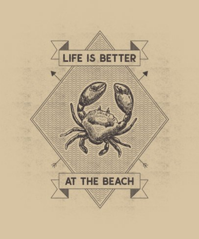 T-Shirt Design Maker with a Detailed Illustration of a Crab 2394e-el1